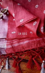 Marvelous Handloom Pure Linen Embroidery Saree A Very Elegant And Grand