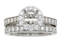 1.03 Ct Diamond & 18KT White Gold Semi Mount Ring