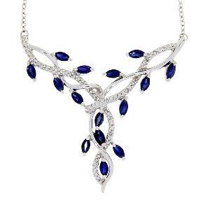 Sapphire Diamond & White Gold Flower Necklace