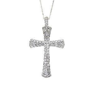 .63 Ct. Diamond & 14KT White Gold Cross Religious Pendant