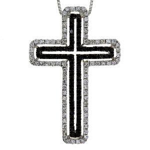 .63 Ct Diamond & 18KT White Gold Cross Religious Pendant 01