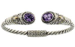 Sterling Silver Amethyst Bangle Bracelet