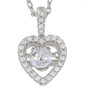 Heart Shape Sterling Silver & CZ Dancing Pendant