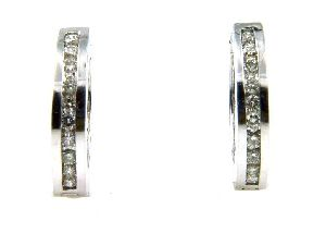 White Gold & Diamond Hoop Earrings