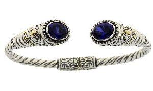 Sterling Silver Created Sapphire Bangle Bracelet