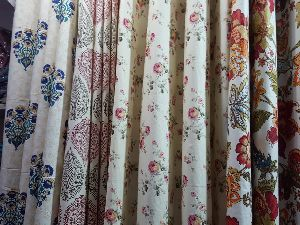 Block print cotton curtains 7feet