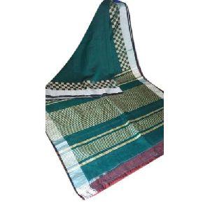 Silver Border Plain Linen Saree