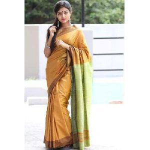 Dyed Tussar Silk Saree