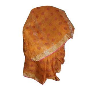 Zari Border Printed Linen Saree