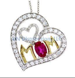 Sterling Silver & Ruby Diamond Heart Love Pendant