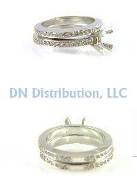 0.85 Ct Diamond & 18KT White Gold Semi Mount Ring
