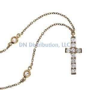.20 Ct Diamond & 18KT Rose Gold Cross Religious Pendant