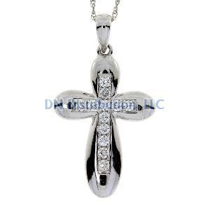 .20 Ct Diamond & 18KT White Gold Cross Religious Pendant