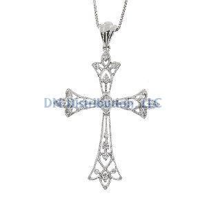 .25ct Diamond & 18K White Gold Cross Religious Pendant