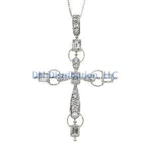 .50ct Diamond & 18KT White Gold Cross Religious Pendant