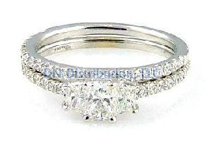 1.27 C t.  Diamond & 18KT White Gold Ring Set
