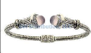 Sterling Silver Quartz Bangle Bracelet