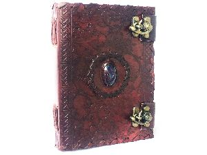 Genuine Leather journal Notebook with embossed Stone
