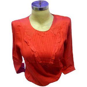 Girls Orange Full Sleeve Top