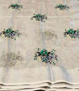Embroidery Tissue Linen Saree