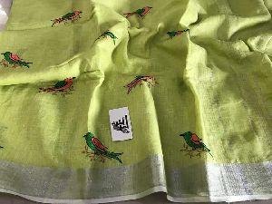 Slub Embroidered Cotton Saree