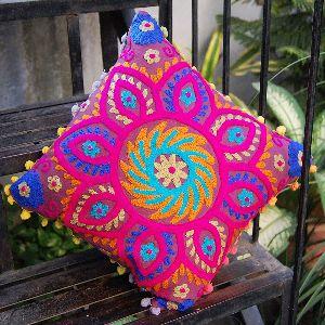 Suzani Colourful Decorative Embroidered Square Cotton Cushion Cover