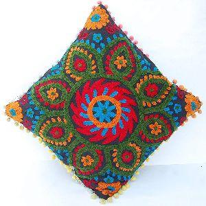 Suzani Ethnic Floral Embroidery Square Cotton Cushion Cover
