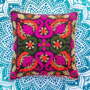 Suzani Indian Vintage Embroidered Cotton Square Cushion Cover
