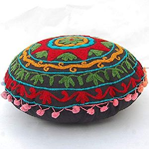 Suzani Tree & Flower Design Embroidered Cotton Round Cushion Cover