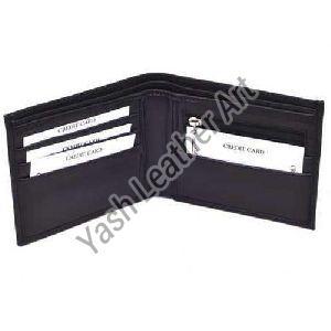 4 Card Slot Mens Black Leather Wallet