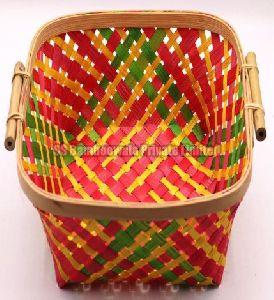 Square Side Handle Bamboo Basket
