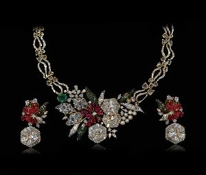 Ruby Rose Cut Diamond Necklace Set