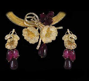 Tourmaline Flower Diamond Necklace Set