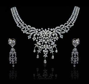 White Glam Diamond Necklace Set