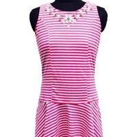 Striped Lycra Dress with Embellishment
