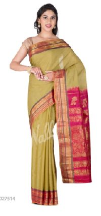 Green Gadwal Silk Cotton Saree