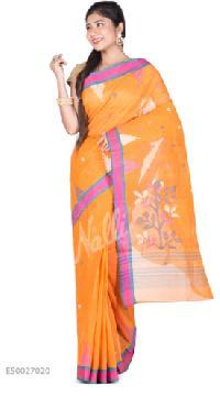 Orange Taant Cotton Saree