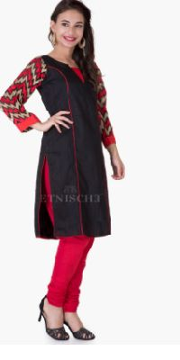 Pure Silk Kurti With Embroired Sleeves