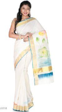 Traditional Off White Kerala Cotton Saree