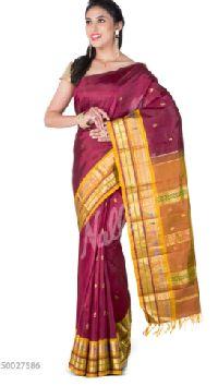 Wedding Maroon Kanchipuram Silk Saree