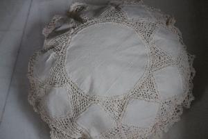 Linen lace cushion cover