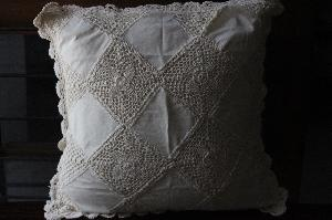 LINEN LACE SQUARE CUSHION COVER