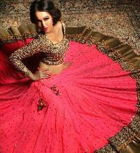 Pink Georgette Lehenga With Stone Buttis And Black Thread Embroidery Blouse And Pink Net Dupatta