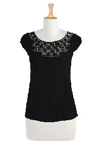 Beaded Neck Ponte Knit Top