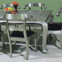 Embossed Silver Inlay Dining Table Set