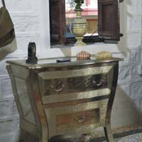 Embossed White Metal 2 Drawer Chest