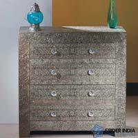 Embossed White Metal Drawer Chest  Dresser