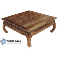 Indian Bone Inlay Coffee Teak Wood Table