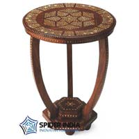 Inez Bone Inlay Teak Side Wood Table