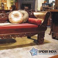 Reclaimed Teak Carved Jodhpur Chaise